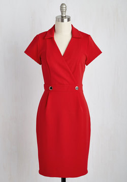 Sophisticated Situation Dress in Red