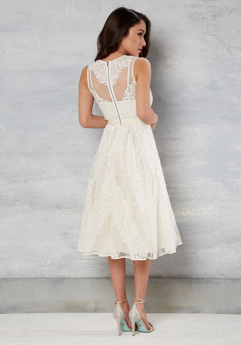 Got It on Wedlock Lace Dress in Ivory by Tracy Reese - White, Solid, Sheath, Sleeveless, Spring, Lace, Best, V Neck, Long, Graduation, Prom, Lace, Bride