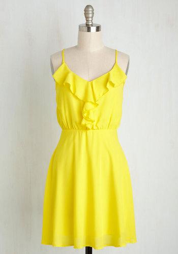 Pucker for Fun Dress - Short, Yellow, Solid, Ruffles, Casual, A-line, V Neck, Beach/Resort, Summer, Sundress, Press Placement, Sleeveless, Woven, Good