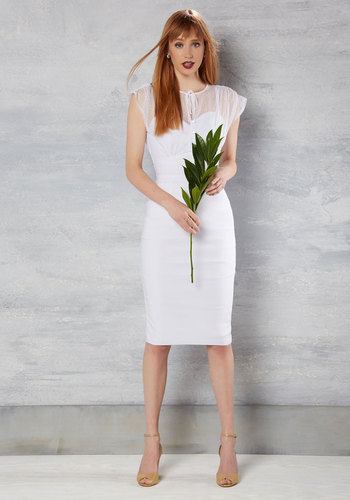 Film Noir Fatale Sheath Dress in White by Stop Staring! - White, Solid, Tie Neck, Bodycon / Bandage, Short Sleeves, Knit, Exceptional, V Neck, Long, Variation, Graduation, Vintage Inspired, Prom, Bride