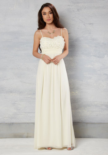 Dignified Depth Maxi Dress in Ivory - Cream, Solid, Flower, Empire, Maxi, Strapless, Woven, Exceptional, Sweetheart, Long, Chiffon, Graduation, Prom, Summer, Homecoming, Bride