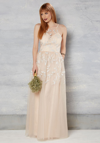 Enchants Encounter Maxi Dress in Peach - Fit & Flare, Sleeveless, Woven, Sweetheart, Long, Blush, Graduation, Prom, Embroidery, Maxi, Spring, Summer, Fall, Winter, Tulle, Bride