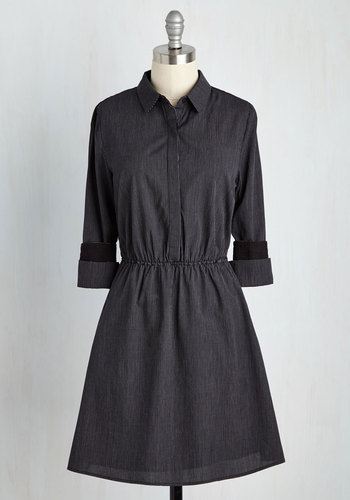 Table for Fun Dress - Black, Work, A-line, Shirt Dress, 3/4 Sleeve, Spring, Woven, Better, Mid-length, Cotton, Solid, Americana