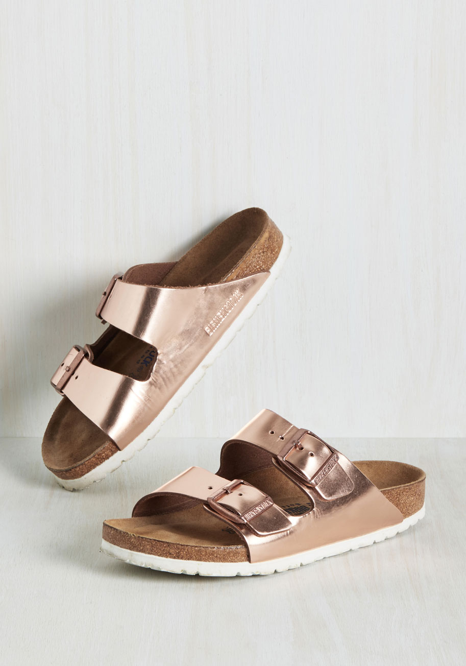 Strappy Camper Sandal In Rose Gold Narrow Mod Retro