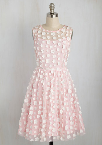 Petal Patter A-Line Dress by Eva Franco - Solid, Special Occasion, A-line, Sleeveless, Woven, Exceptional, Scoop, Mid-length, Pink, Wedding Guest, Spring, Summer, Party, Homecoming, Sheer