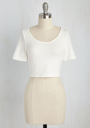 On Crop of the World Top in White - Short, White, Solid, Casual, Cropped, Short Sleeves, Girls Night Out, Minimal, Summer, Jersey, Cotton, Variation, Scoop, 90s, Good, Best Seller, White, Short Sleeve, Spring, Festival, Americana, Boho, As You Wish Sale