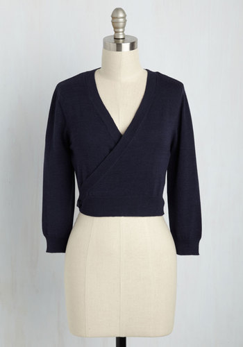 1950s Style Sweaters, Crop Cardigans, Twin Sets Its a Wrap Cardigan in Navy $34.99 AT vintagedancer.com