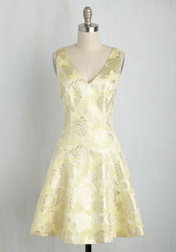Out of This Twirl Floral Dress by Wendy Bird - Yellow, Gold, Floral, Print, Party, Cocktail, A-line, Sleeveless, Woven, Best, Exclusives, V Neck, Wedding Guest, Bridesmaid, Mid-length, Summer, Daytime Party, Pastel, Spring, Wedding, Homecoming
