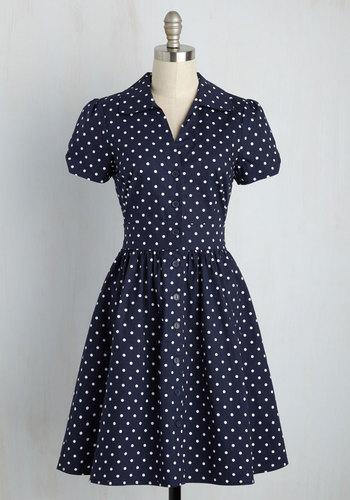 Summer School Cool Dress in Navy Dots $59.99 AT vintagedancer.com