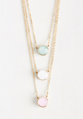 Trio Grande Necklace - Multi, Casual, Spring, Summer, Good, Solid, Pastel, Exclusives, Gold, Store 1