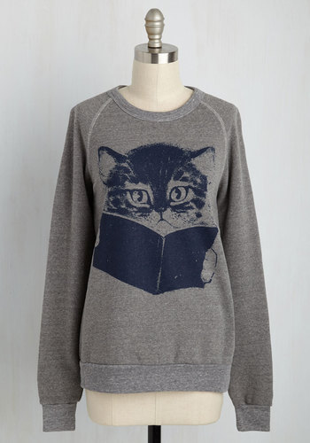 Come Tome to Me Sweatshirt by Kin Ship - Grey, Print with Animals, Casual, Long Sleeve, Mid-length, Crew, Cats, Sweatshirt, Fall, 90s, Better, Best Seller, Grey, Long Sleeve, Critters, Good, 4th of July Sale, Top Rated
