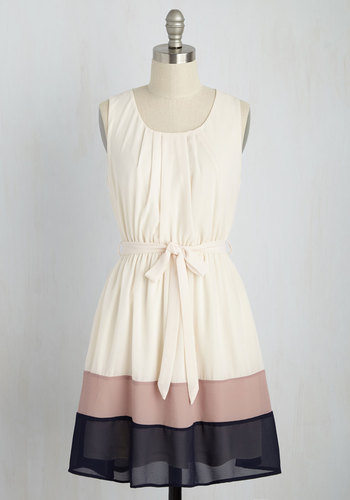 Band in Line Dress - Casual, Colorblocking, A-line, Sleeveless, Woven, Good, Solid, Spring, Multi, Tan / Cream, Sundress, Work, Tan