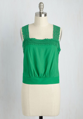 Out on a Trim Tank Top in Verdant