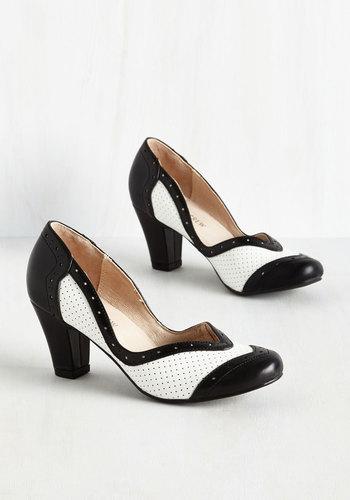 Twentieth Century Foxtrot Heel in Black and White $74.99 AT vintagedancer.com