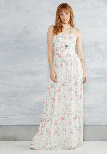 Of Grace and Grandeur Maxi Dress in White by Erin by Erin Fetherston - Multi, Floral, A-line, Strapless, Spring, Woven, Exceptional, Scoop, Long, Chiffon, Print, Pink, White, Homecoming, Bride