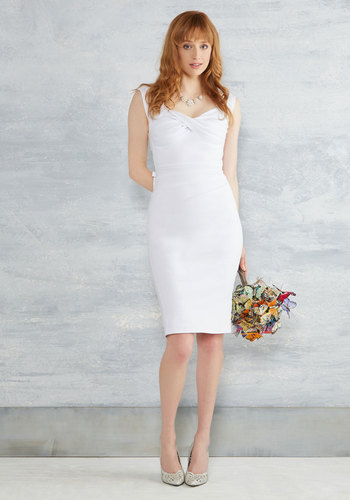 Nonpareil Nuptials Sheath Dress in White by Stop Staring! - White, Solid, Bows, Sheath, Short Sleeves, Knit, Exceptional, Scoop, Long, Exclusives, Bride