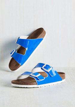 Strappy Camper Sandal in Neon Blue - Narrow