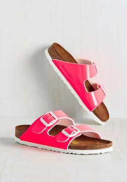 Strappy Camper Sandal in Neon Pink - Narrow