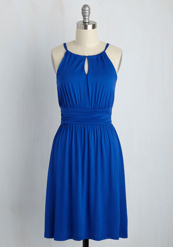 Afternoon Outing Jersey Dress - Blue, Solid, Casual, Beach/Resort, A-line, Knit, Good, Halter, Mid-length, Sundress, Nautical, Americana, Summer, Halter, Spring