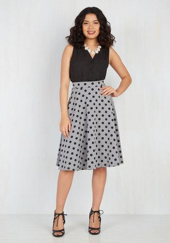 Bugle Joy Midi Skirt in Gray Dots