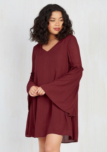 Saved by the Bell Sleeve Shift Dress by Jack by BB Dakota - Red, Solid, Casual, Boho, Shift, Long Sleeve, Fall, Woven, Better, Mid-length