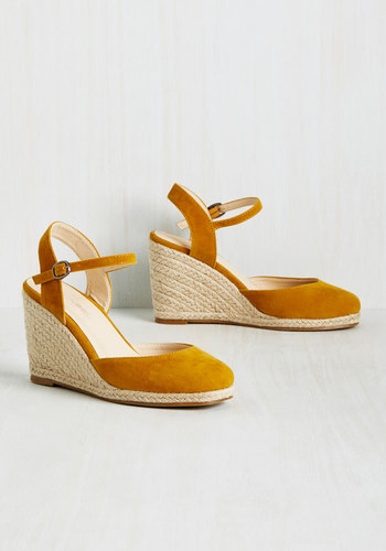 Plaits to Call My Own Wedge in Curry $49.99 AT vintagedancer.com
