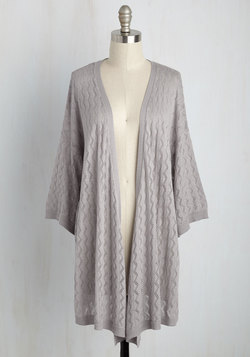 Pointelle the Way Cardigan in Ash