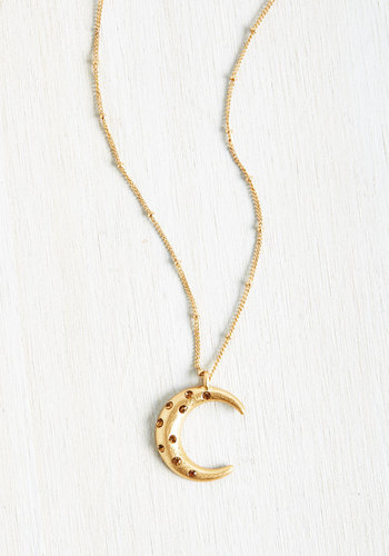 Crescent and Accounted For Necklace - Gold, Casual, Boho, Summer, Good, Rhinestones, 70s, Metal, Vintage Inspired, Cosmic, Store 2, Steampunk, Store 1