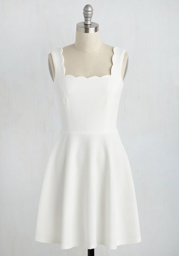 Posh and Circumstance Dress - White, Solid, Daytime Party, A-line, Sleeveless, Summer, Knit, Good, Short, Casual, Wedding, Fit & Flare