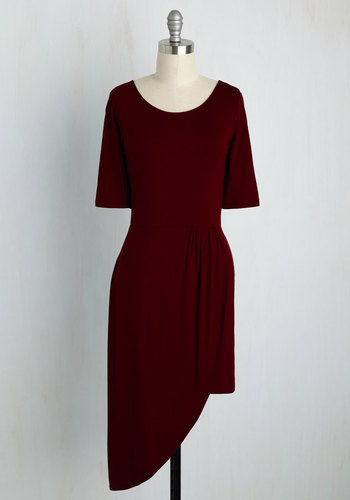 Best of the Fresh Sheath Dress in Burgundy - Red, Solid, Casual, A-line, Short Sleeves, Fall, Winter, Knit, Good, Short, Variation