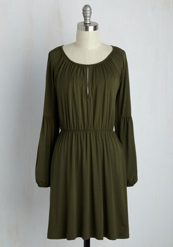 Campground Chic A-Line Dress - Green, Solid, Casual, Boho, A-line, Long Sleeve, Fall, Knit, Good, Short