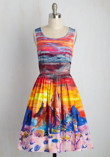Painted Love A-Line Dress by ModCloth - Multi, Novelty Print, Print, Casual, Sundress, Fit & Flare, Sleeveless, Summer, Woven, Exceptional, Exclusives, Private Label, Travel, Spring, Long, Orange, Daytime Party, Statement, Store 2, ModCloth Label