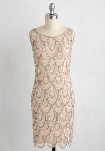 Dressingupina1920sFlapperCostume Roaring Reception Dress in Champagne $179.99 AT vintagedancer.com