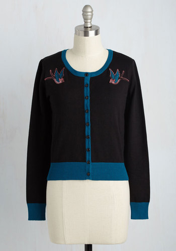 Can You Sparrow a Moment Cardigan in Black $49.99 AT vintagedancer.com