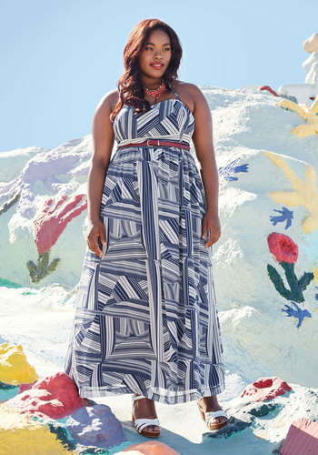 East Beach Engagement Maxi Dress by ModCloth - Blue, White, Print, Geometric, Daytime Party, Graduation, Empire, Sleeveless, Woven, Best, Exclusives, Halter, Summer, Sundress, Maxi, Long, 60s, Casual, Beach/Resort, Vintage Inspired, Private Label, Wedding Guest, Wedding, ModCloth Label