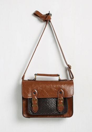 Grad to be Here Bag - Brown, Solid, Buckles, Woven, Scholastic/Collegiate, Faux Leather, Work, Fall, Top Rated, Store 2
