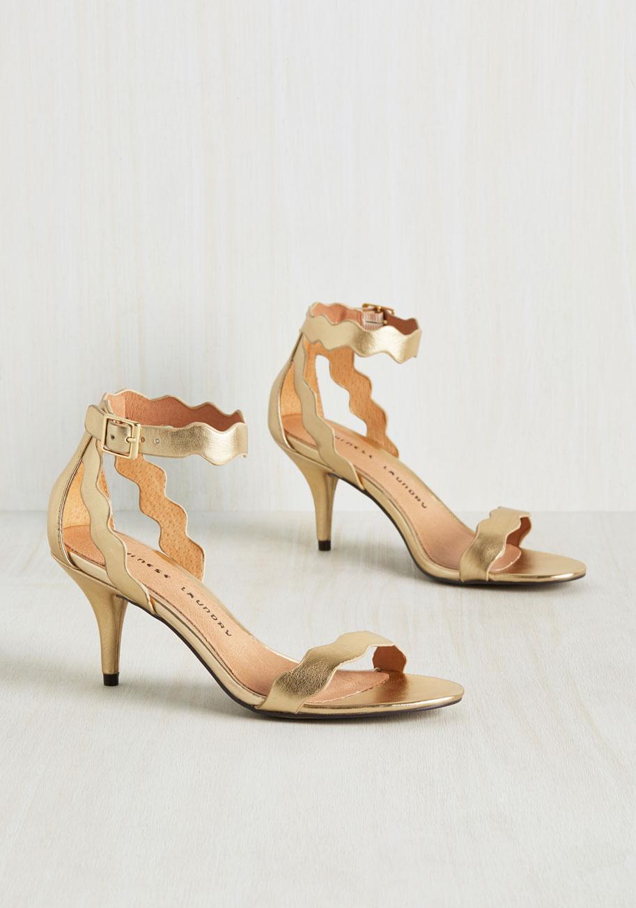 Kitten Heel Gold Sandals