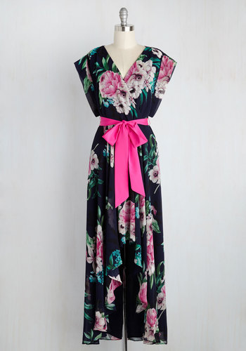 Effortlessly Authentic Maxi Dress by Eliza J - Multi, Blue, Floral, Print, Belted, Daytime Party, Graduation, A-line, Woven, Exceptional, Wedding Guest, Bows, Sundress, Maxi, Short Sleeves, Spring, Summer, Fall, Chiffon, V Neck, Party, Blue, Homecoming