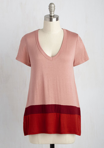 Fro-Yo Consideration Top - Red, Other Print, Casual, Nautical, Short Sleeves, Summer, Good, V Neck, Knit, Mid-length, Pink, Colorblocking, Scholastic/Collegiate, Fall