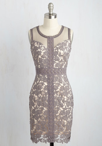 Sheath in Love Lace Dress - Grey, Tan / Cream, Solid, Party, Sleeveless, Lace, Better, Scoop, Short, Woven, Crochet, Girls Night Out, Wedding Guest, Bodycon / Bandage, Winter, Homecoming, Summer, Floral, Best Seller, Best Seller, Mini, Lace, Sheer