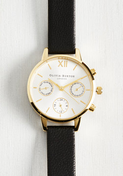 Wrist Opportunity Watch in Black & Gold - Midi