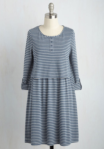 The More the Mariner Striped Dress - Blue, White, Stripes, Print, Casual, Nautical, Americana, A-line, Long Sleeve, Summer, Knit, Good, Mid-length
