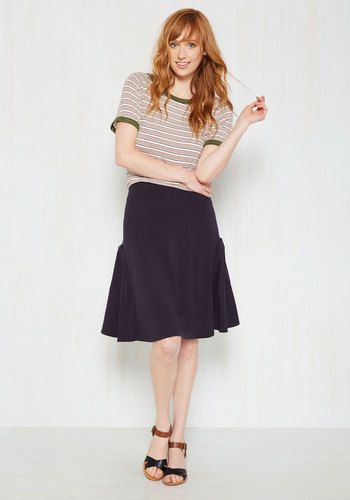 At the Racquet of Dawn Skirt in Navy - A-line, Good, Blue, Knit, Blue, Solid, Pockets, Casual, Spring, Mid-length, Vintage Inspired, Summer, Fall