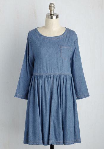 World Sculptor Denim Dress - Blue, Solid, Casual, 3/4 Sleeve, Fall, Denim, Woven, Better, Cotton, Short, Vintage Inspired, 80s, 90s, Empire, 60s