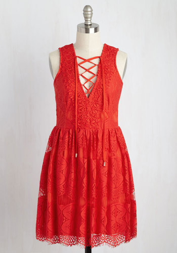 On a Hibiscus Note Lace Dress - Red, Solid, Daytime Party, A-line, Sleeveless, Summer, Woven, Lace, Better, Mid-length, Boho, Girls Night Out, Nautical, Americana, Party, Lace