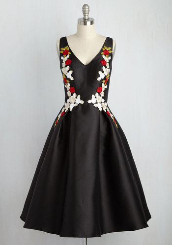 Ladies and Diligence Floral Dress in Red Petals - Multi, Black, Floral, Print, Embroidery, Special Occasion, Cocktail, Wedding Guest, A-line, Sleeveless, Woven, Best, Black, Long, Winter, V Neck, Best Seller, Best Seller, Homecoming
