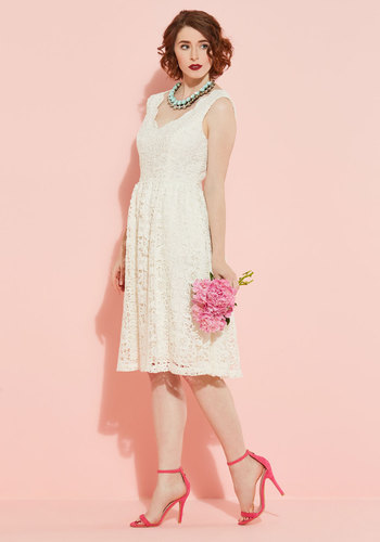 Look on the Bride Side Lace Dress in Ivory