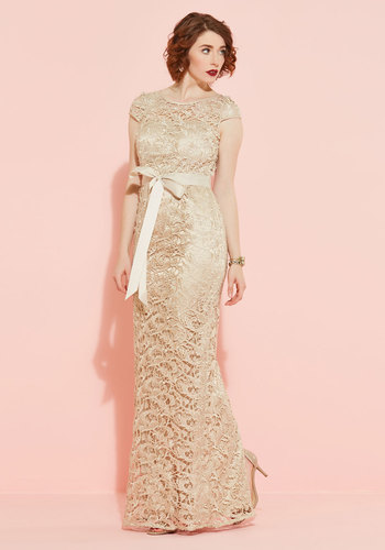 Upscale inspiration maxi dress in champagne mod retro for Adrianna papell wedding guest dresses