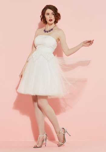 Tulle Love and Cherish Lace Dress in White - White, Solid, Fit & Flare, Strapless, Woven, Exceptional, Scoop, Lace, Tulle, Special Occasion, Prom, Spring, Summer, Long, Ballerina / Tutu, Homecoming, Lace, Bride