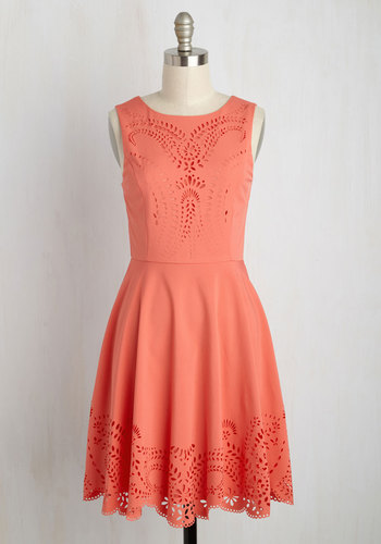 Invitation Designer Dress in Coral - Mid-length, Coral, Solid, A-line, Sleeveless, Scoop, Cutout, Casual, Spring, Sundress, Work, Daytime Party, Summer